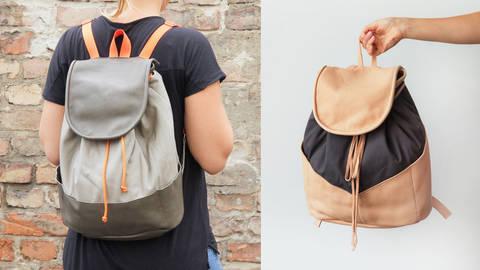 Des cours en ligne de qualité chez Makerist - Coudre un sac à dos cuir en cuir et toile