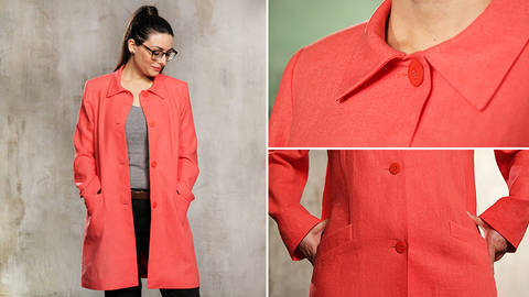Sew an easy mid-season coat - quality online courses at Makerist