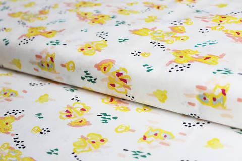 Acheter Tissu jaune en coton à fleurs: saccharine Citron - 114 cm dans la mercerie Makerist