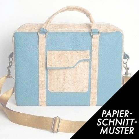 Gedrucktes Schnittmuster für: Notebooktasche aus Korkstoff und SnapPap kaufen im Makerist Materialshop