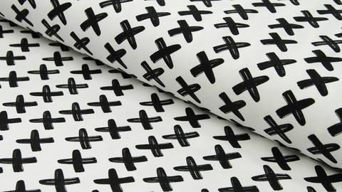Acheter Jersey de coton noir et blanc : Criss Cross - 150cm dans la mercerie Makerist