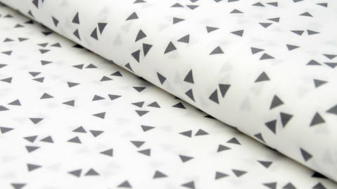 buy White Cotton Fabric with Grey Triangles - 150cm in the Makerist Supplies