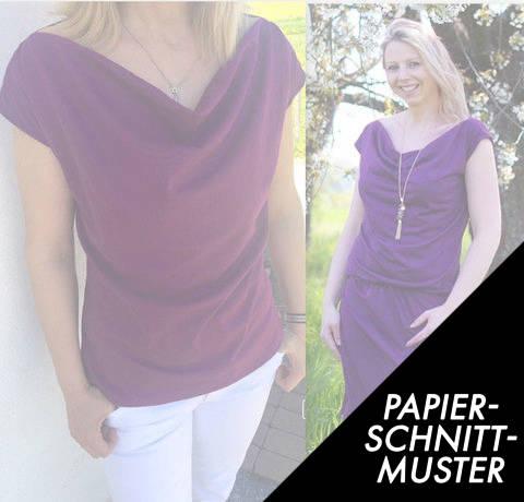 Gedrucktes Schnittmuster für: Wasserfallkleid / - Shirt CLARY Gr. XS-XXL kaufen im Makerist Materialshop