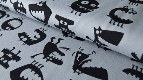 Grauer Monsterdruck Jersey: Vicente - 160 cm kaufen im Makerist Materialshop