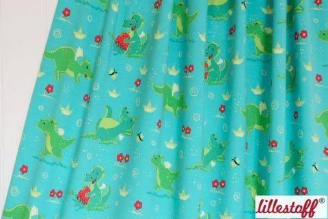Acheter Jersey bio bleu-vert lillestoff: Petits dragons - 150 cm dans la mercerie Makerist