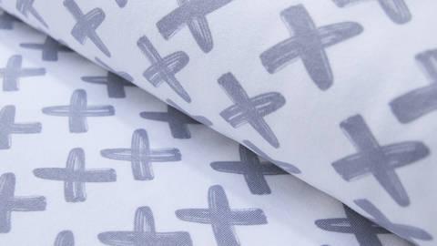 Weiß und grauer Baumwolljersey: Criss Cross - 150 cm kaufen im Makerist Materialshop
