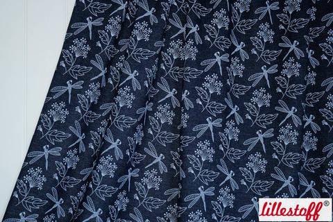 Acheter Jean d'été bleu foncé lillestoff : Fleurs d'encre - 150 cm dans la mercerie Makerist