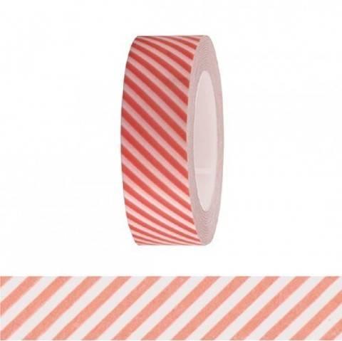 Tape weiß/neonrot gestreift 15mm 10m kaufen im Makerist Materialshop