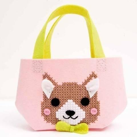 Bastel-Set Kindertasche Hund rosa 16,5x16x11cm kaufen im Makerist Materialshop