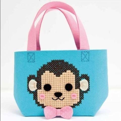 Bastel-Set Kindertasche Affe türkis 16,5x16x11cm kaufen im Makerist Materialshop