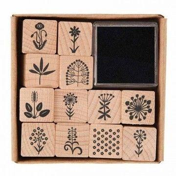 Stempelset Blumen 2x2cm 12 Stück - Bastelmaterial kaufen im Makerist Materialshop
