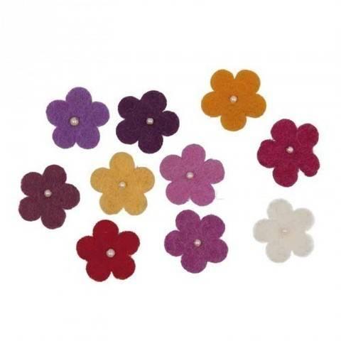 Filzblüten mit Perlen rotmix 10 Stück kaufen im Makerist Materialshop