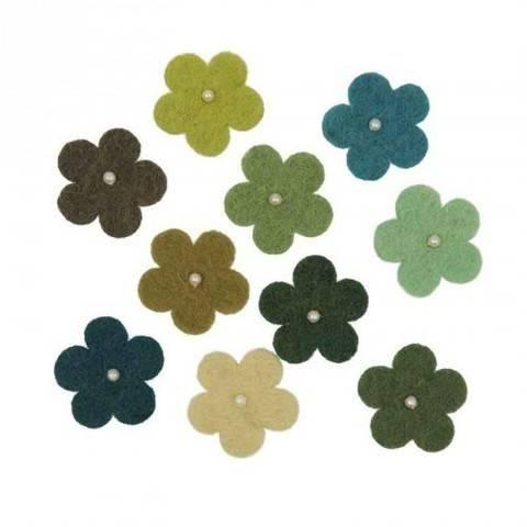 Filzblüten mit Perlen grünmix 10 Stück kaufen im Makerist Materialshop