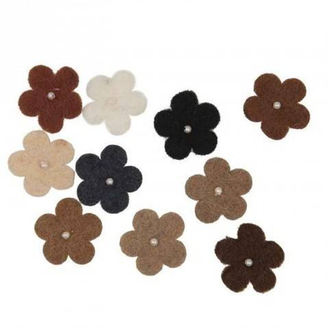 Filzblüten mit Perlen beigemix 10 Stück kaufen im Makerist Materialshop