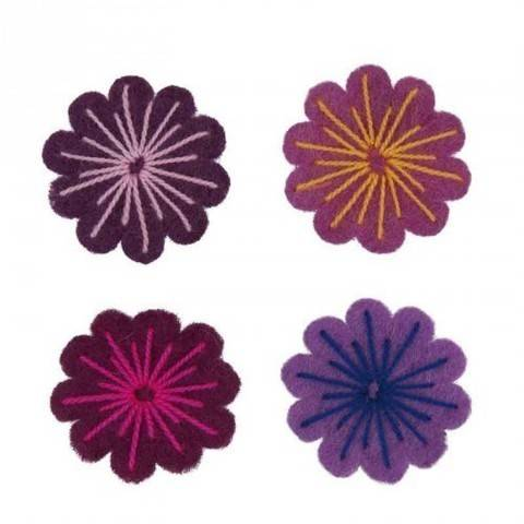 Filzblüten pinkmix 4 Stück kaufen im Makerist Materialshop