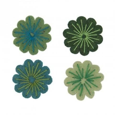 Filzblüten grünmix 4 Stück kaufen im Makerist Materialshop