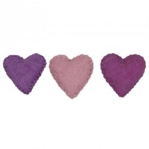Filzherzen pinkmix 3 Stück kaufen im Makerist Materialshop