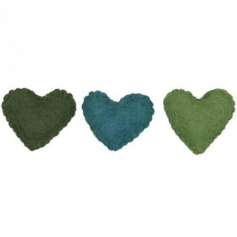 Filzherzen grünmix 3 Stück kaufen im Makerist Materialshop