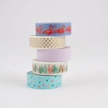 Tape Set Flamingo 5-teilig - Bastelmaterial kaufen im Makerist Materialshop