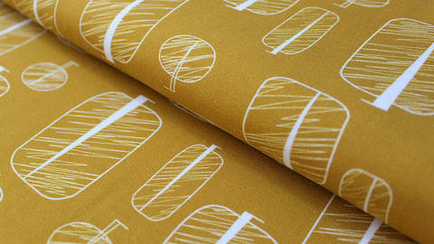 buy Mustard Yellow Cotton Jersey: Magical Trees - 150cm in the Makerist Supplies