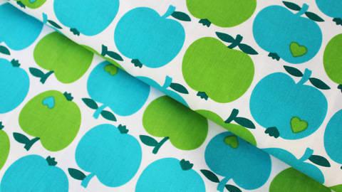 Grün-blauer Baumwollstoff byGraziela: Apfel / Orange - ARCHIVIERT - kaufen im Makerist Materialshop
