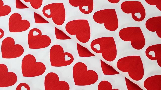 Acheter Coton percale rouge et blanc byGraziela : Coeurs - 150 cm - Tissus dans la mercerie Makerist