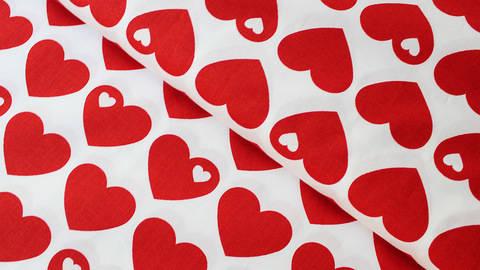 Acheter Coton percale rouge et blanc byGraziela : Coeurs - 150 cm dans la mercerie Makerist