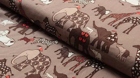 Hellbrauner Stretch-Jersey: Elefanten - 150 cm kaufen im Makerist Materialshop