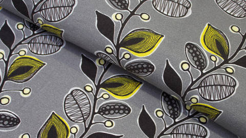 Grauer Stretch-Jersey: Blumenranke - 150 cm kaufen im Makerist Materialshop