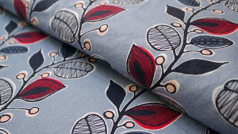 Taubenblauer Stretch-Jersey: Blumenranke - 150 cm kaufen im Makerist Materialshop