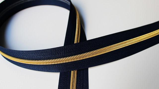 Acheter Fermeture à glissière bleu marine : or - Accessoires dans la mercerie Makerist