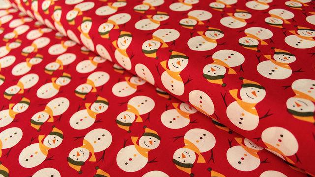 Acheter Cotonnage rouge à motifs : Bonhomme de neige - 112 cm - Tissus dans la mercerie Makerist