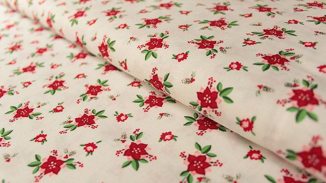 Acheter Cotonnade blanche à motifs : Fleurs de Noël - 112 cm - Tissus dans la mercerie Makerist