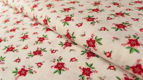 Acheter Cotonnade blanche à motifs : Fleurs de Noël - 112 cm dans la mercerie Makerist