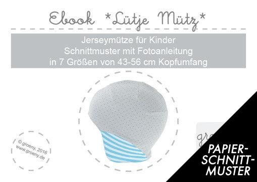 Gedrucktes Schnittmuster für: Ebook *Lütje Mütz* Mütze für Kinder KU ...