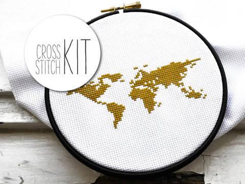 Kreuzstich Stickset: Weltkarte - 20 cm kaufen im Makerist Materialshop