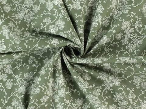 Grün-weißer Baumwollstoff: Holunder - 140 cm kaufen im Makerist Materialshop