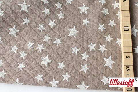 Taupe-weiß wattierte Bio-Baumwolle: Stepper Stars - 160 cm kaufen im Makerist Materialshop