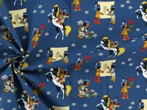 Blauer Lizenz Baumwollstoff: Yakari und Regenbogen - 140 cm kaufen im Makerist Materialshop