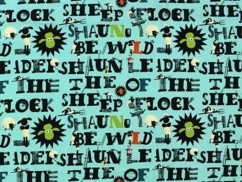 Mintfarbener Jersey: Shaun das Schaf - 150 cm kaufen im Makerist Materialshop