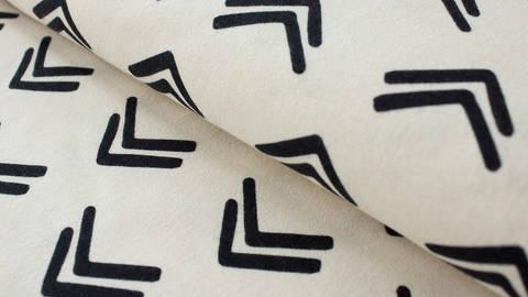 Limitierter schwarz-weißer Jerseystoff GOTS: Big Arrow - 170 cm kaufen im Makerist Materialshop
