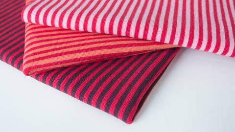 3er Ringelkombi Stoff-Set: Bündchen rot - 50 cm kaufen im Makerist Materialshop