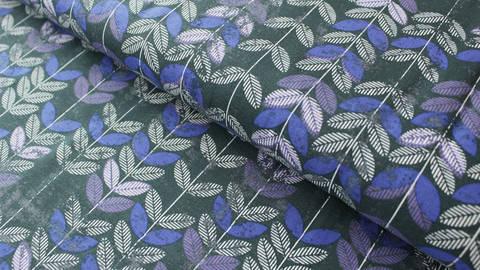 Nachtblauer Blätterdruck Jersey: Vicente - 160 cm kaufen im Makerist Materialshop