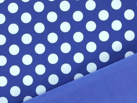 Blau weißer Softshell Big Dots kaufen im Makerist Materialshop