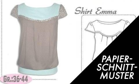 """Gedrucktes Schnittmuster für: Schnittmuster und Nähanleitung für das Shirt """"Emma"""" Gr.:36-44 kaufen im Makerist Materialshop"""