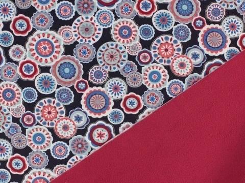 Dunkelblau geblümter Softshell kaufen im Makerist Materialshop