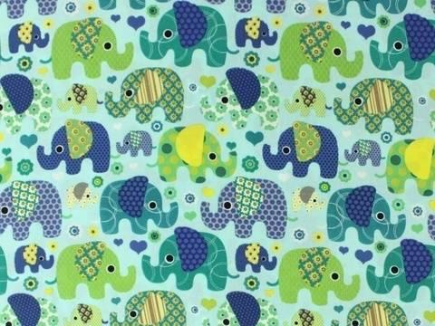 Mintfarbener Baumwollstoff: Elefantentreffen - 140 cm kaufen im Makerist Materialshop