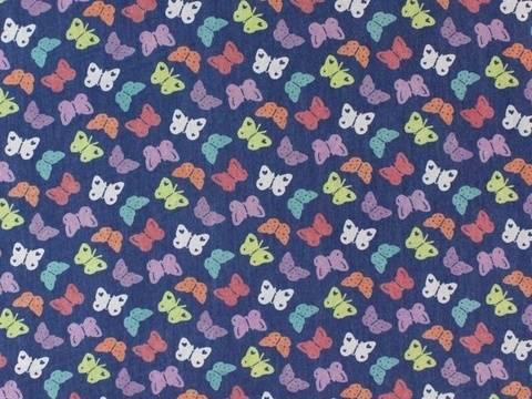 Dunkelblauer Jeansstoff: Schmetterlinge - 145 cm kaufen im Makerist Materialshop