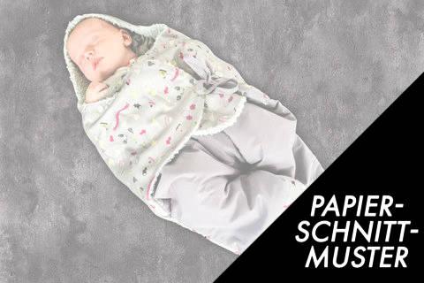 Gedrucktes Schnittmuster für: Baby Einschlagdecke – Einschlaganzug kaufen im Makerist Materialshop