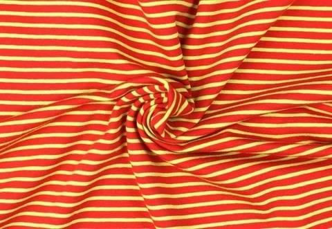 Rot-limettenfarbener Baumwolljersey: Streifen - 155 cm kaufen im Makerist Materialshop